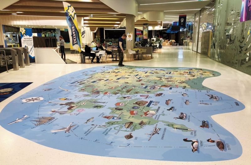 Illustrated Map of Estonia on floor covering at Super Skypark.