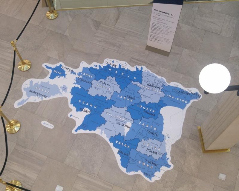 Administrative Map of Estonia on floor covering. Photo: Aivo Jakobson