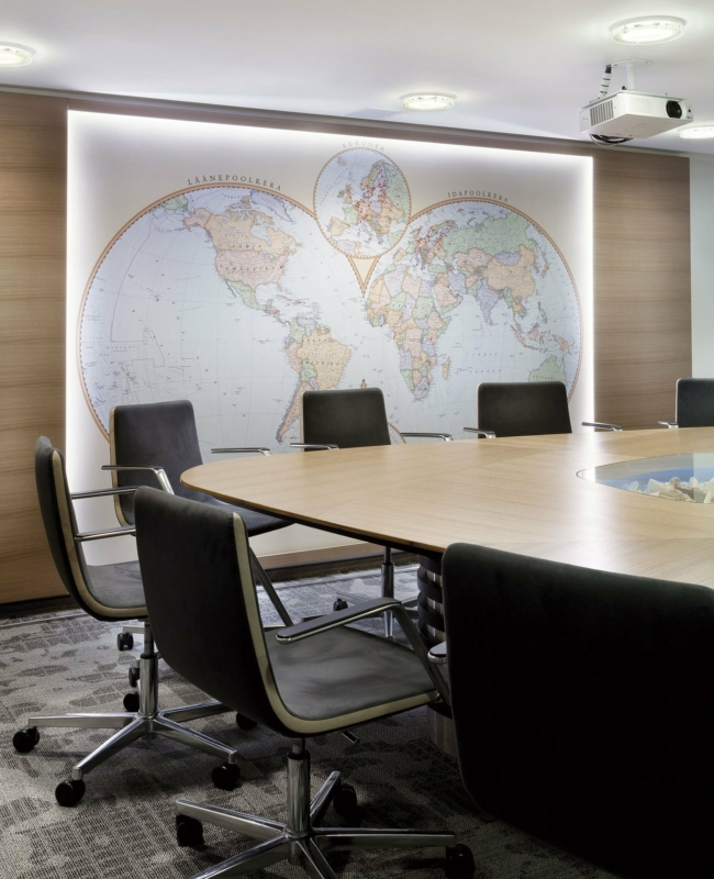 Hemisphere map with LED lights at Standard office. Photo: Toomas Tuul