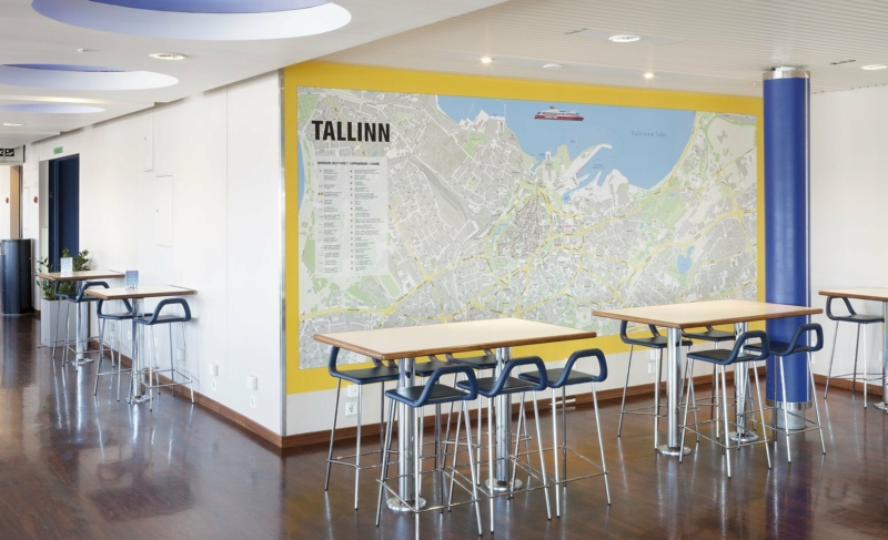 Tallinn wall map at Viking XPRS vessel. Photo: Toomas Tuul